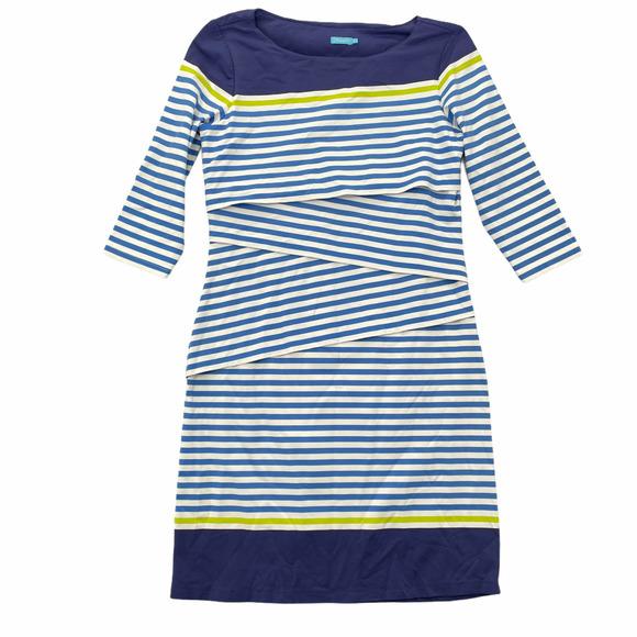 J McLaughlin Nicola Blue Striped Tiered Dress Med